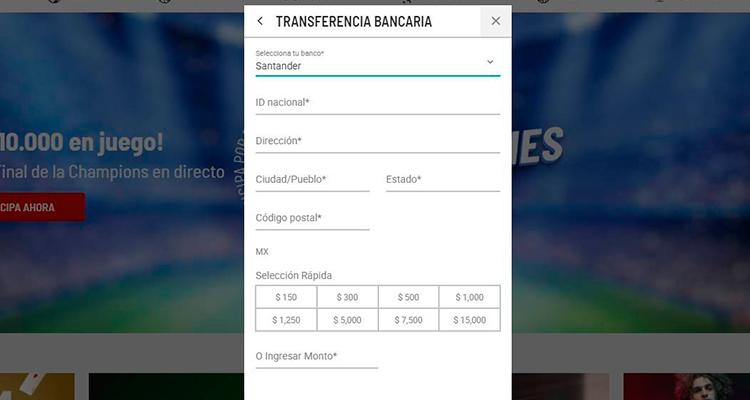Transferencia bancaria Banco Santander
