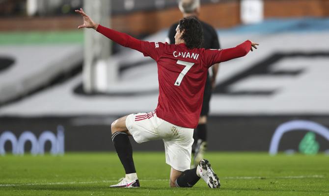 Celebración de Edinson Cavani - Manchester United vs Liverpool