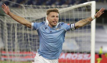 Ciro Immobile celebrando un gol, imagen necesaria para el futuro de los locales en el Lazio vs Bayern Múnich