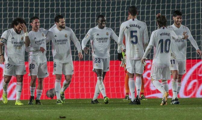 Mendy y sus compañeros celebran un gol, algo fundamental para cumplir con los pronósticos del Real Madrid vs Getafe