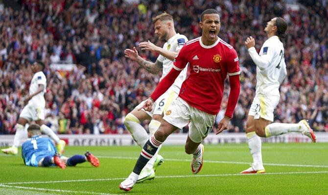 Mason Greenwood celebra un gol en la imagen. Cuotas y picks Wolverhampton vs Manchester United.